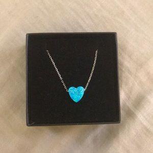 Sterling Silver Blue Opal Heart Necklace